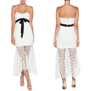 NWOT Bardot White Lace Bow Strapless Midi Dress